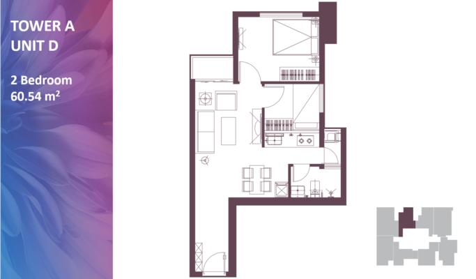 Apartemen Meikarta Tower A, Unit D, Blok 62006, Luas 60.53
