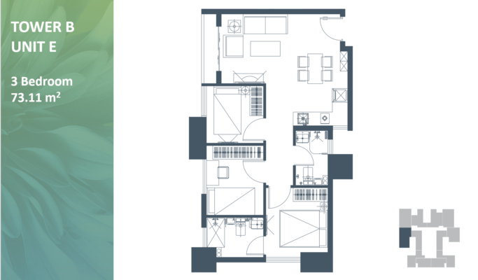 Apartemen Meikarta Tower B Unit E, Blok 51022, Luas 73.11