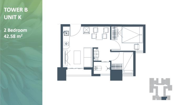 Apartemen Meikarta Tower B Unit K, Blok 39021, Luas 42.58